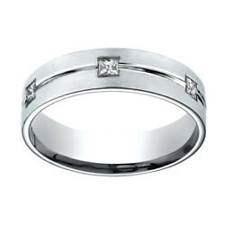 0.6 Ct Natural Diamond 6mm Comfort Fit 18k White Gold Band Ring Sz-13