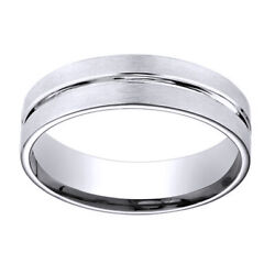 14k White Gold 6mm Comfort Fit Polished Center Cut Carved Menand039s Band Ring Sz 9