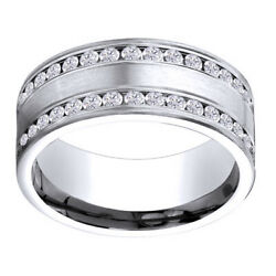 14k White Gold 1.32 Ct Diamond 8mm Comfort Fit Double Row Band Ring Sz 12