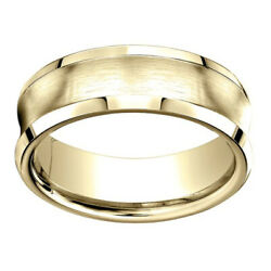 18k Yellow Gold 7.50 Mm Comfort-fit Menand039s Wedding Band Ring Sz-7