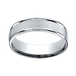 14k White Gold 6mm Comfort-fit Satin Finish High Polished Band Ring Sz-11