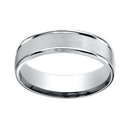 18k White Gold 6mm Comfort-fit Satin Finish High Polished Band Ring Sz-10