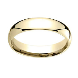 14k Yellow Gold 5mm Slightly Domed Super Light Comfort Fit Band Ring Sz 12