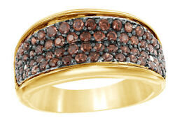 0.87 Ct Round Cut Brown Real Diamond Four Row Engagement Ring In 10k Yellow Gold