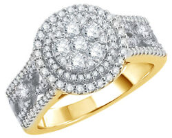 1 Ct Round Cut Diamond Double Frame Twist Shank Cluster Ring In 10k Yellow Gold