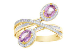 1/3 Cttw Diamond And Purple Sapphire Oval Halo Bypass Ring 10k Yellow Gold