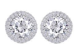 1.33 Ct Good Round Earth Mined Diamonds 18k Prong Halo Earrings