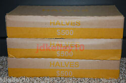 One Unsearched Half Dollar Box 50 Rolls 500 Face Value, Bank Wrapped Rolls