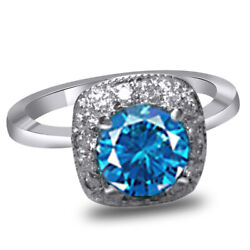 Blue And White Round Simulated Diamond Halo Engagement Ring 14k White Gold
