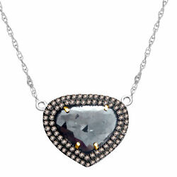 Heavy 9.06 Ct Black Rough And Brown Diamond 18k Gold And Sterling Pendant 18 Chain