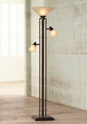 Mission Torchiere Lamp with Side Lights Bronze Dimmable for Living Room Reading