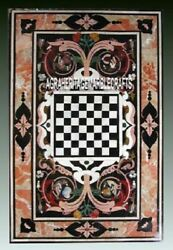 Marble Chess Dining Table Top Ancient Inlay Stone Halloween Hallway Decor H4007