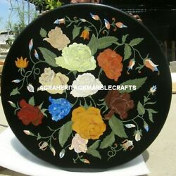 Black Marble Round Dining Table Floral Marquetry Art Inlay Furniture Decor H5337