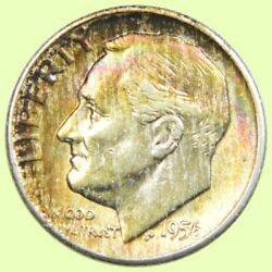 1956-d Roosevelt Dime 10c | Silver ☆great Rainbow Toning☆  367
