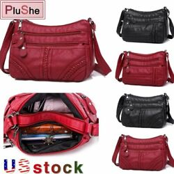 Womens Soft Leather Multi layer Shoulder Bag Crossbody Bags Weave Handbag Purse $10.99