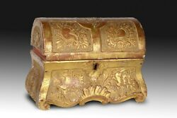 Carved Golden Wood Chest. 18th Century.