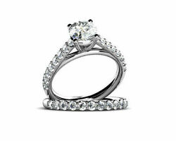 1.75 Ct Round Cut 14k White Gold Engagement And Wedding Simulated Diamond Rings