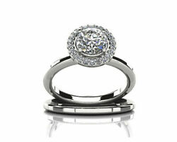 1.75 Ct Round Cut Solitaire Simulated 14k White Gold Engagement And Wedding Rings