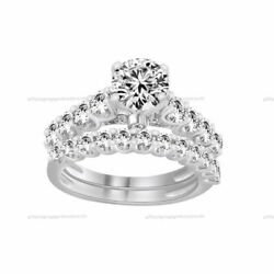 Round Simulated Diamond Solitaire Wedding Bridal Set Rings 10k Solid White Gold
