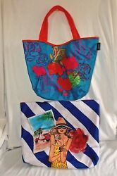 Pair Lancome Totes Shopping Bags Beach Bags Bright Colorful Nylon Fabric Floral $9.00