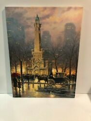 Thomas Kinkade Chicago Winter At The Water Tower S/n 18 X 24 Canvas Signed