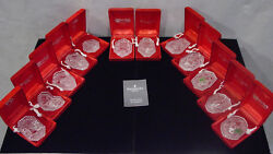 Waterford Crystal Complete 12 Days Of Christmas Annual Ornaments Mint In Boxes