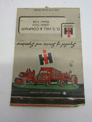 Old Matchbook Cover O.s. Hill International Harvester Tractor Truck Advertising