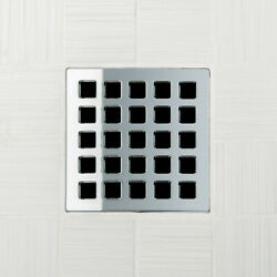 Ebbe E4803 Quadra Polished Chrome Square Shower Drain And Rough-in Adapter Kit