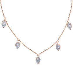 1/5 Ct Round Cut D/vvs1 Solid 14k Rose Gold Small Tessa Pendant Necklace