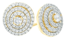 0.5 Ct White Natural Diamond Layered Circle Stud Earrings In 10k Yellow Gold