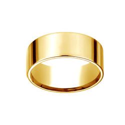 18k Yellow Gold 8mm Flat Comfort-fit Wedding Band Ring Size 9