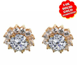 5.00 Ct Round Cut Cubic Zirconia 14k Yellow Gold Floral Earrings