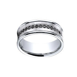 0.33cttw Natural Diamond Concave Band Ring 18k White Gold Comfort-fit 7.5mm Sz 7