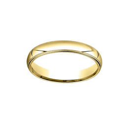 4mm Slightly Dome Comfort Fit 14k Yellow Gold Band Ring Sz 10 W/ Milgrain