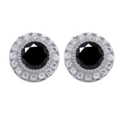 Sterling Silver 5.5 Ct Black Moissanite Halo Stud Earrings With Push Back