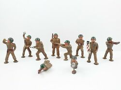 Lot Of 10 Vintage Barclay Manoil Lead Toy Soldiers Army Figures Pod Foot