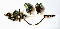 Vtg Florenza Signed Glass Green Amber Rhinestone Hat Pin Brooch And Earring Set