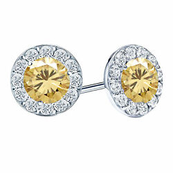 Real Moissanite Halo Stud Earrings 14k Gold Over Sterling Silver 3.25 Ct