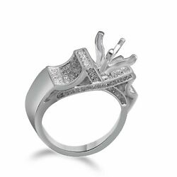 1/2 Ctw Round Natural Diamond Semi Mount Solitaire Ring Solid 14k White Gold
