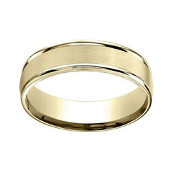 18k Yellow Gold 6mm Comfort-fit Satin Finish High Polished Band Ring Sz-7