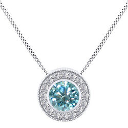 2.75 Ct Round Light Blue Moissanite Sterling Silver Halo Pendant W/ 18 Chain