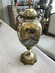 Antique French Porcelain Handled Urn With Lid