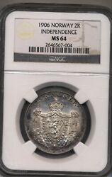 1906 Norway Silver Coin Money 2 Krone Norway Independence Ms 64 Ngc
