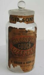 Antique 1900's Advertising Gibsons Chlorodyne Cough Lozenges Glass Jar And Lid
