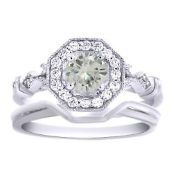 3 Ct Genuine Moissanite 2 Piece Engagement Bridal Set Ring Sterling Silver