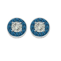 4.5 Ct Round Moissanite Sterling Silver Halo Bridal Stud Earrings