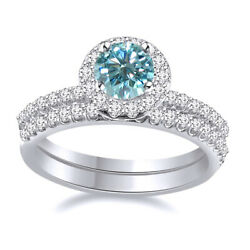 Sterling Silver 3 Ct Light Blue Moissanite 2 Piece Halo Engagement Bridal Ring