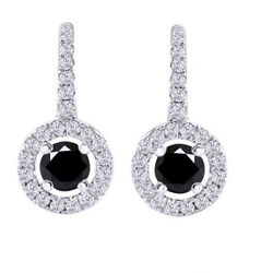 4.75 Ct Round Black Moissanite Sterling Silver Lever Back Halo Drop Earrings