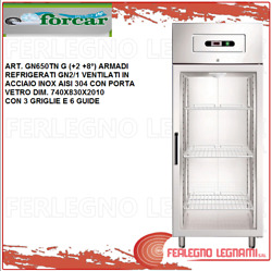 Cabinet Chilled Gn2/1 Vented With Carries Glass 2+ 8° Forcar Gn650tn G
