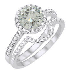 6 Ct Genuine Moissanite Halo Bridal Set Engagement Ring In Sterling Silver